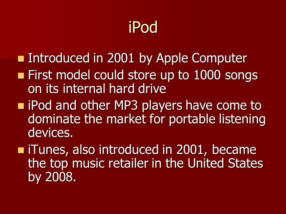 iPod Introduced in 2001 by Apple Computer