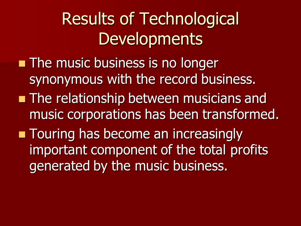 Results of Technological Developments