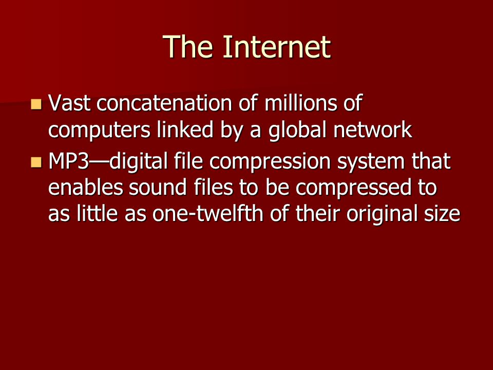 The Internet Vast concatenation of millions of computers linked by a global network.