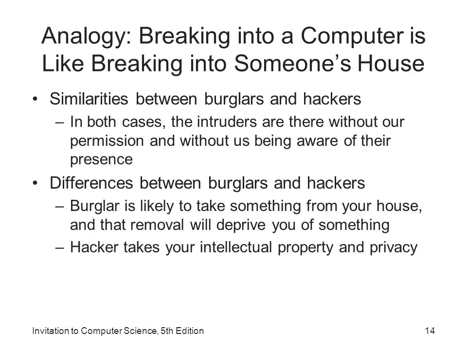 Analogy: Breaking into a Computer is Like Breaking into Someone's House