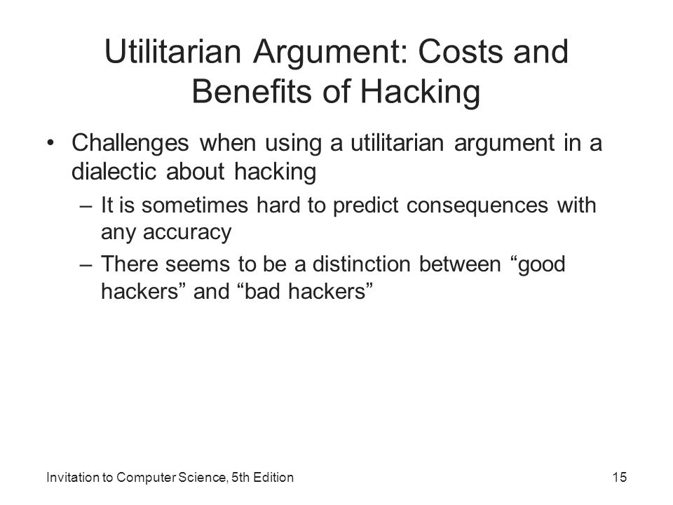 Utilitarian Argument: Costs and Benefits of Hacking