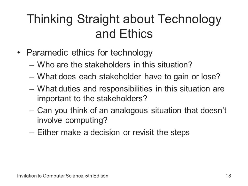 Thinking Straight about Technology and Ethics