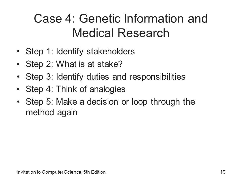 Case 4: Genetic Information and Medical Research