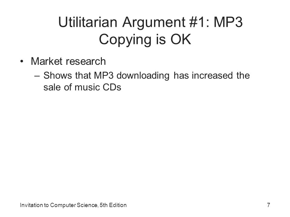 Utilitarian Argument #1: MP3 Copying is OK