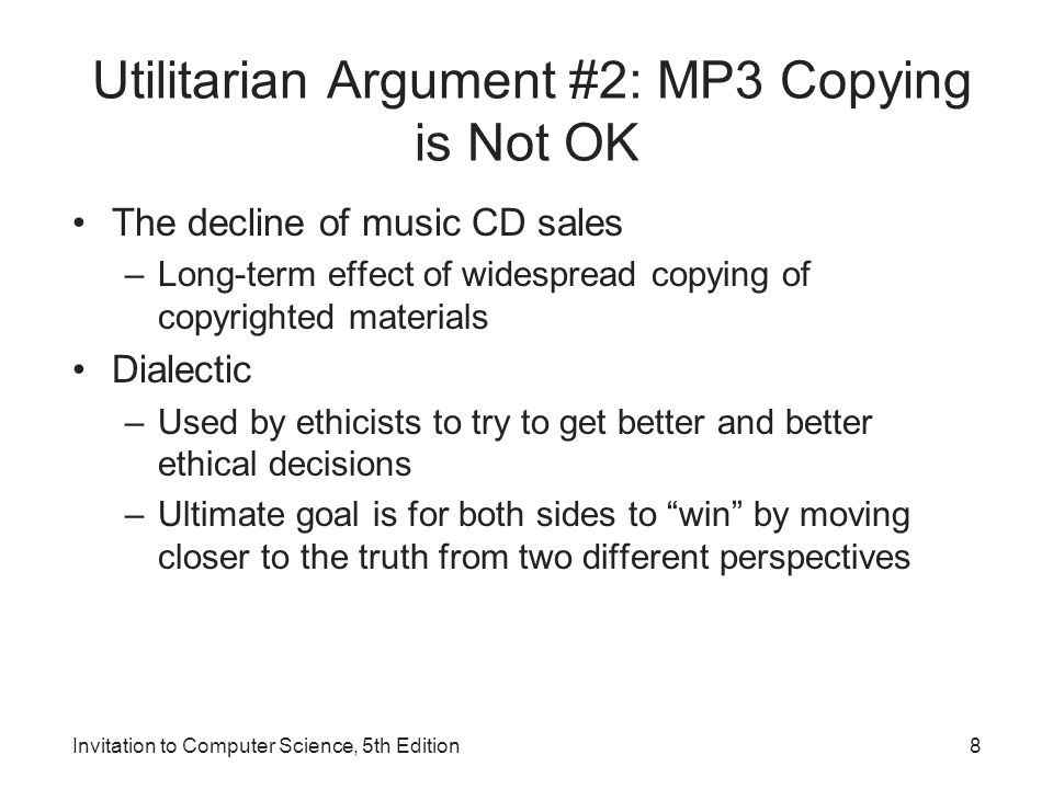 Utilitarian Argument #2: MP3 Copying is Not OK