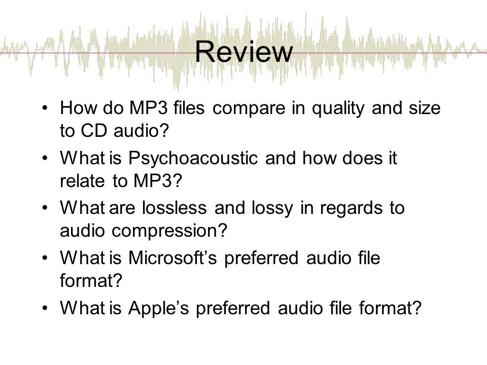 Review How do MP3 files compare in quality and size to CD audio