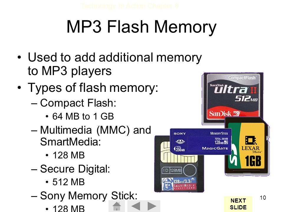MP3 Flash Memory Used to add additional memory to MP3 players