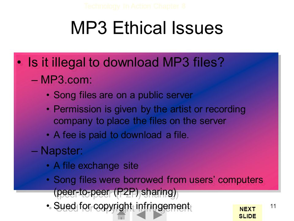 MP3 Ethical Issues Is it illegal to download MP3 files MP3.com: