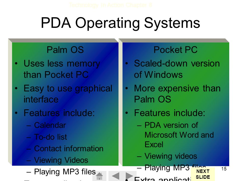 PDA Operating Systems Palm OS Uses less memory than Pocket PC