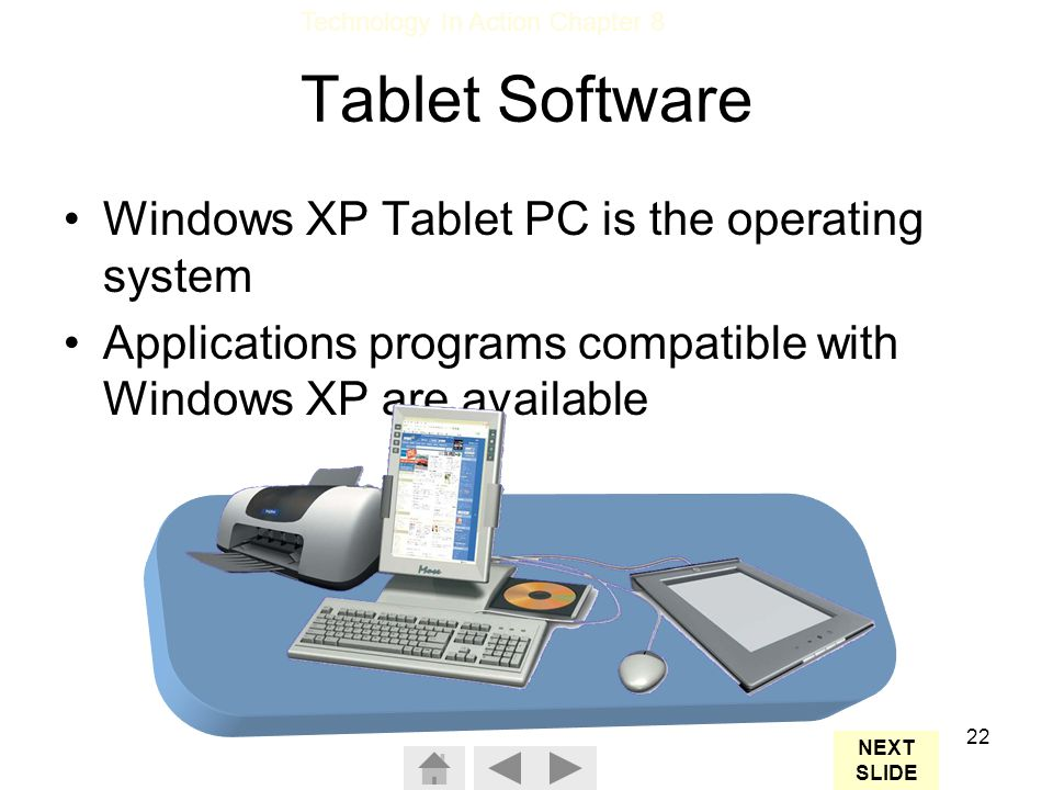 Tablet Software Windows XP Tablet PC is the operating system