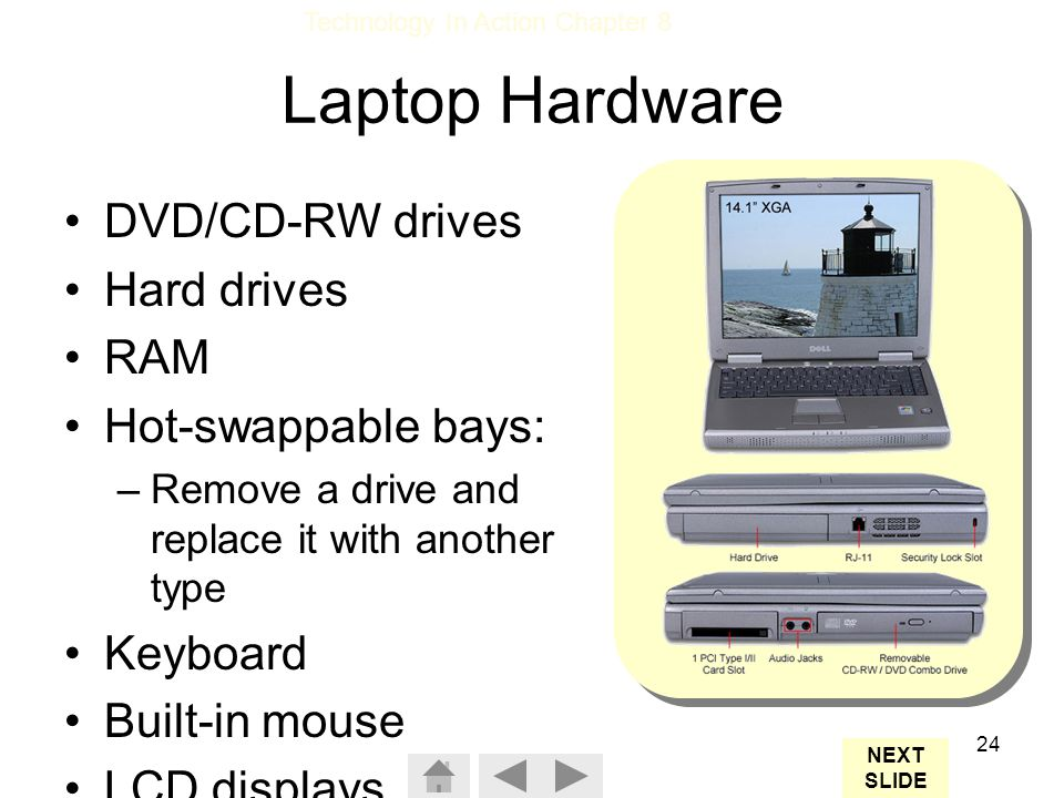 Laptop Hardware DVD/CD-RW drives Hard drives RAM Hot-swappable bays:
