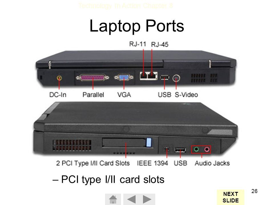 Laptop Ports A full set of ports: Parallel Monitor USB Modem Ethernet