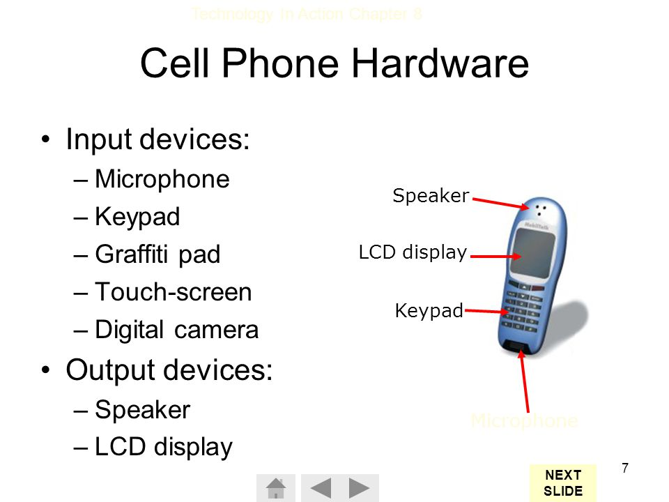 Cell Phone Hardware Input devices: Output devices: Microphone Keypad
