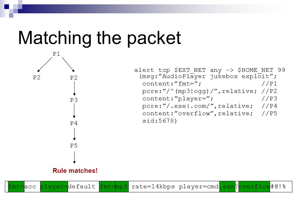 Matching the packet P1 alert tcp $EXT_NET any -> $HOME_NET 99