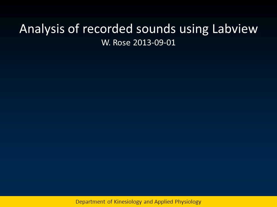 Analysis of recorded sounds using Labview