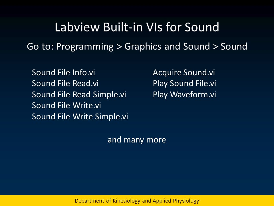 Labview Built-in VIs for Sound
