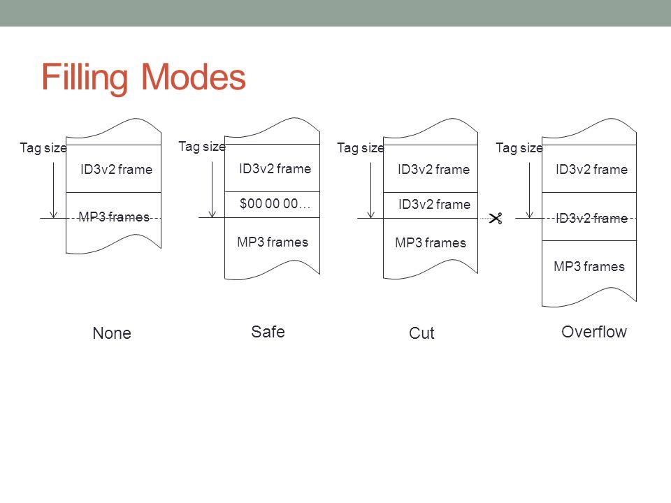 Filling Modes None Safe Cut Overflow Tag size ID3v2 frame MP3 frames