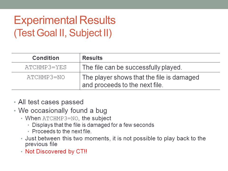 Experimental Results (Test Goal II, Subject II)