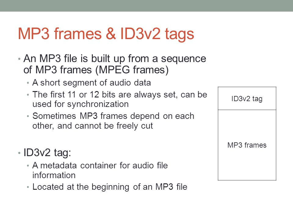 MP3 frames & ID3v2 tags An MP3 file is built up from a sequence of MP3 frames (MPEG frames) A short segment of audio data.