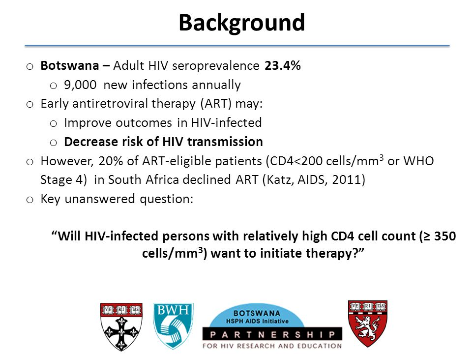 Background Botswana – Adult HIV seroprevalence 23.4%