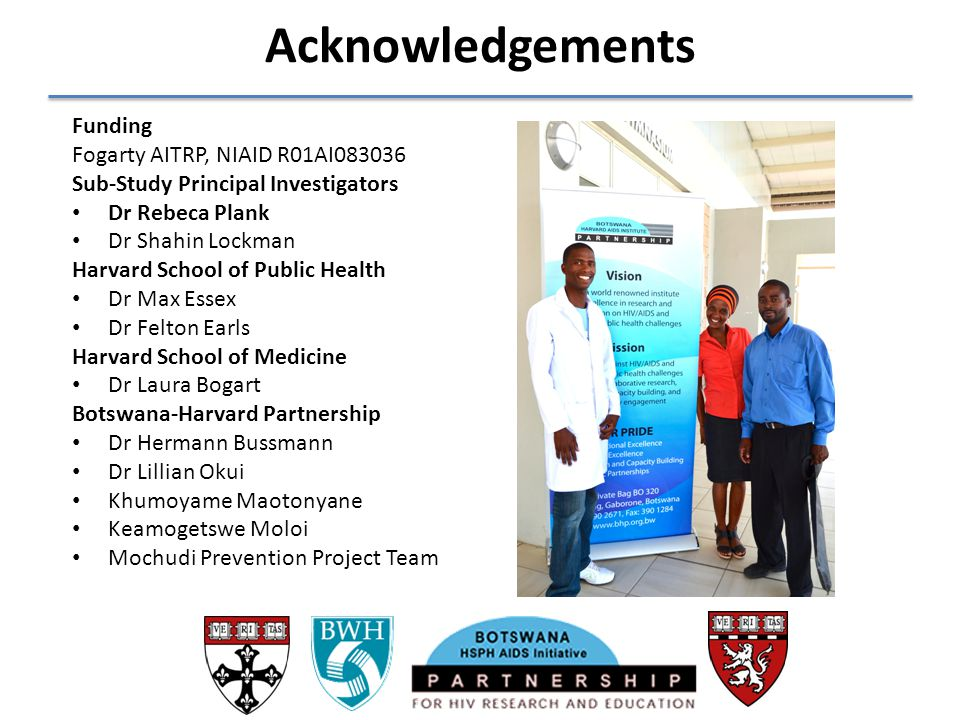 Acknowledgements Funding Fogarty AITRP, NIAID R01AI083036
