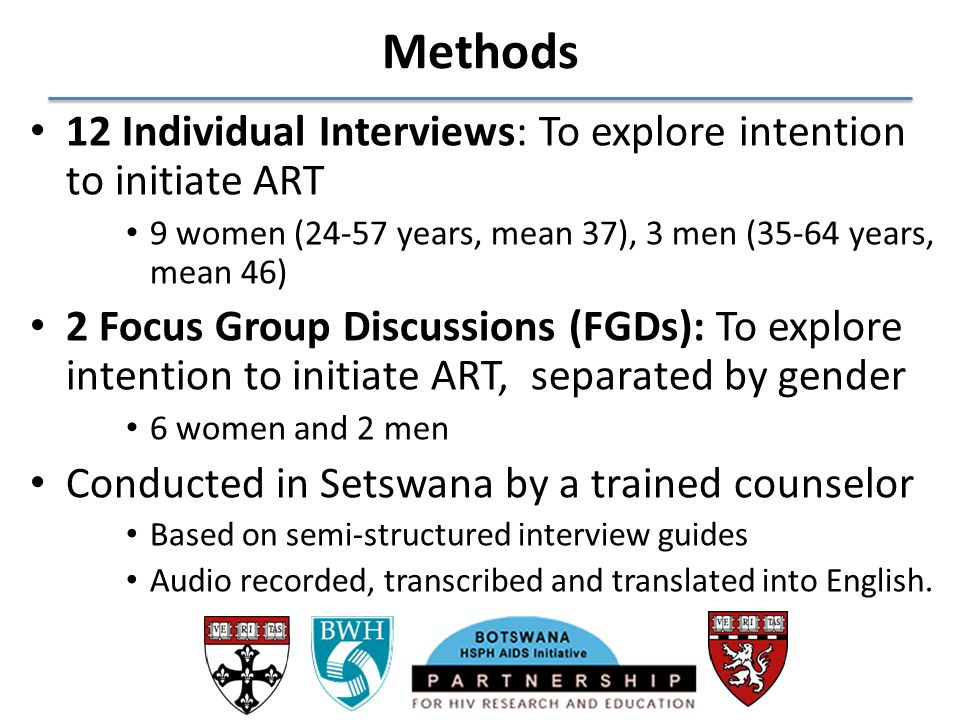 Methods 12 Individual Interviews: To explore intention to initiate ART