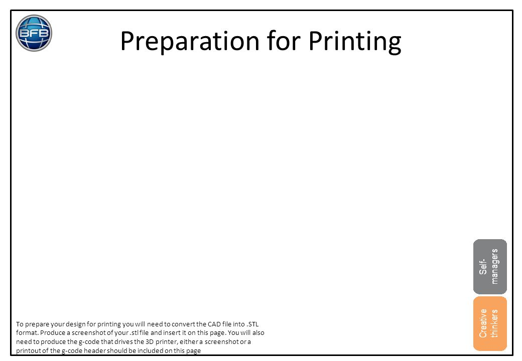Preparation for Printing