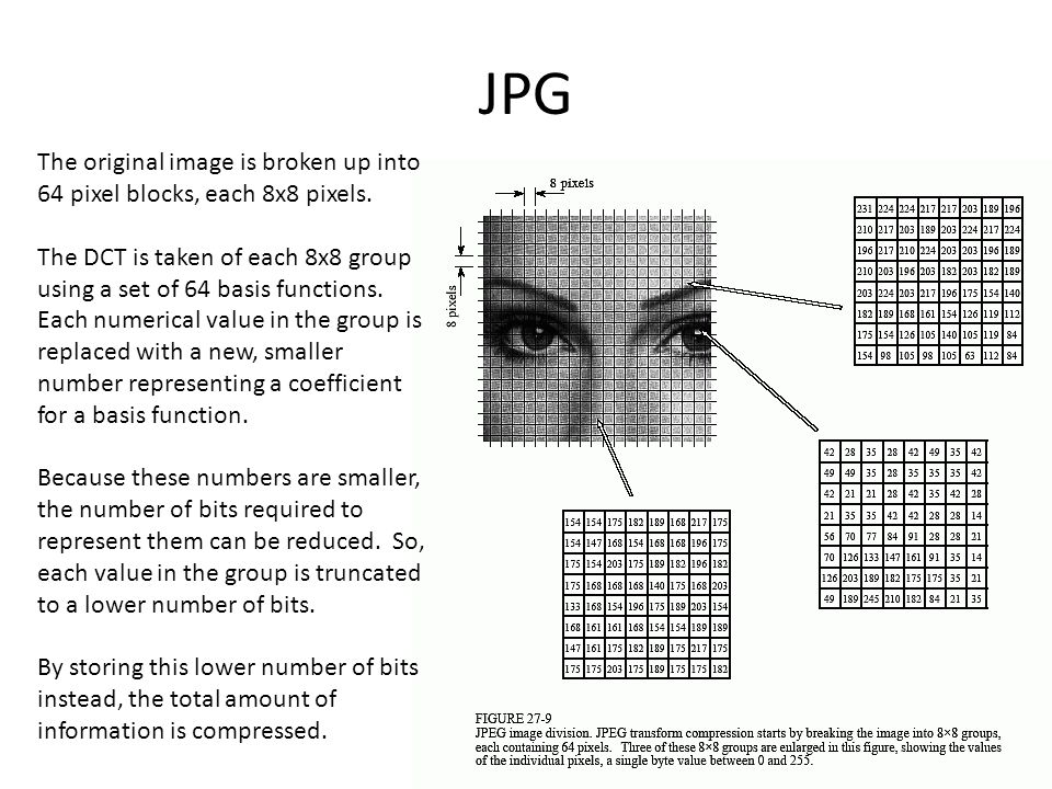 JPG The original image is broken up into 64 pixel blocks, each 8x8 pixels.