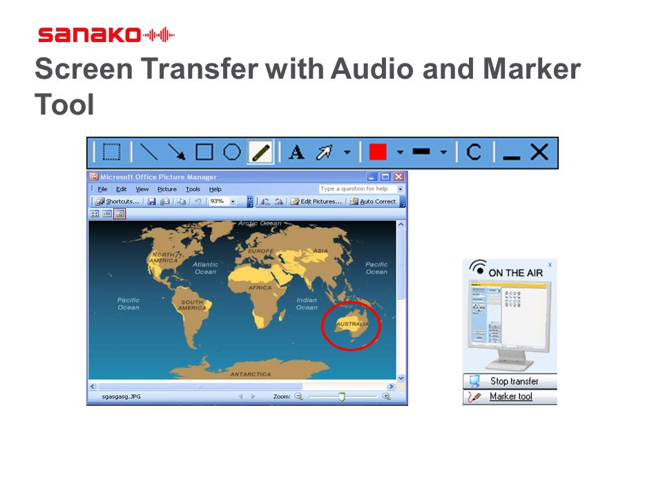 Screen Transfer with Audio and Marker Tool