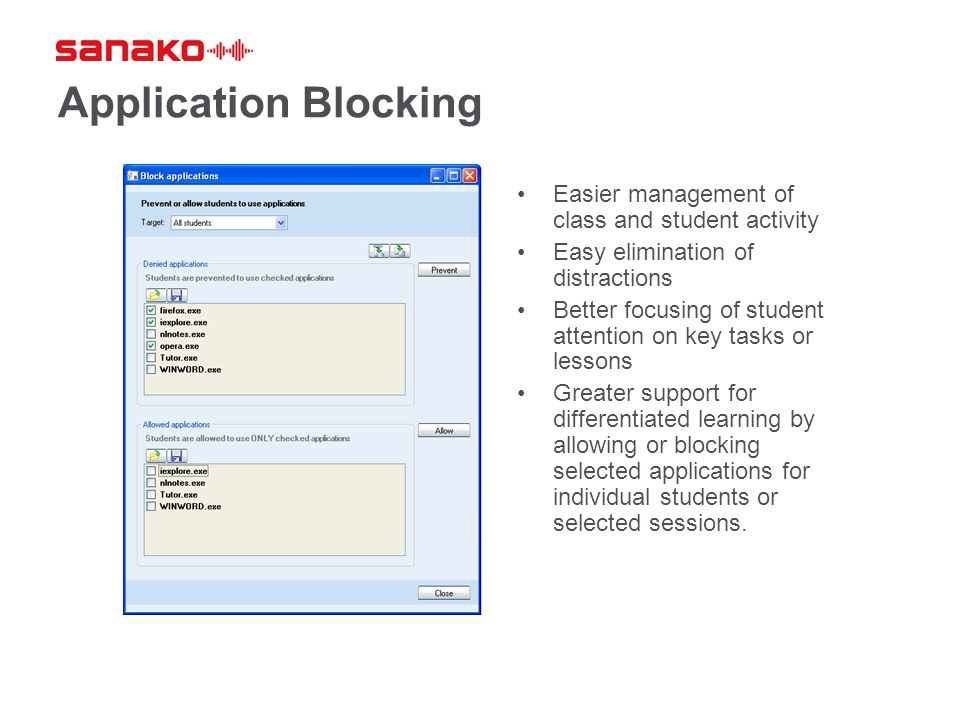 Application Blocking Easier management of class and student activity