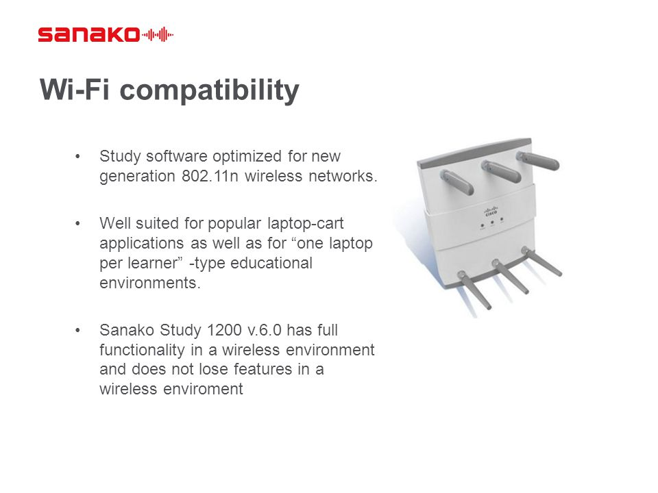 Wi-Fi compatibility Study software optimized for new generation 802.11n wireless networks.