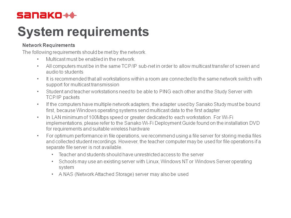 System requirements Network Requirements