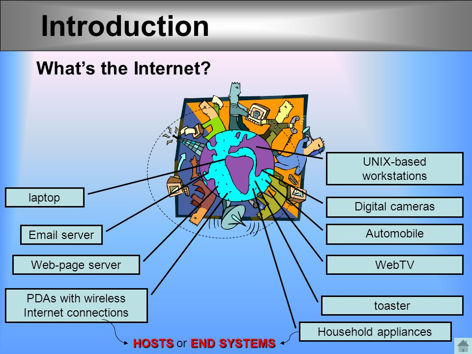Introduction What's the Internet UNIX-based workstations laptop