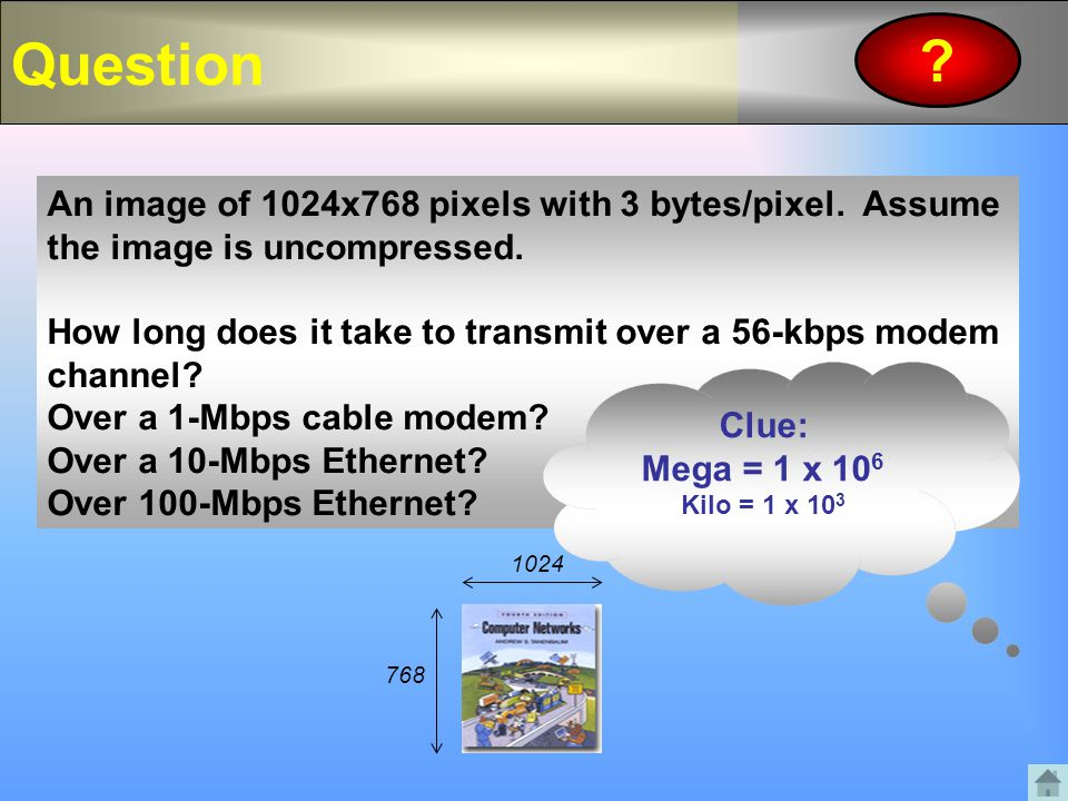 Question An image of 1024x768 pixels with 3 bytes/pixel. Assume the image is uncompressed.