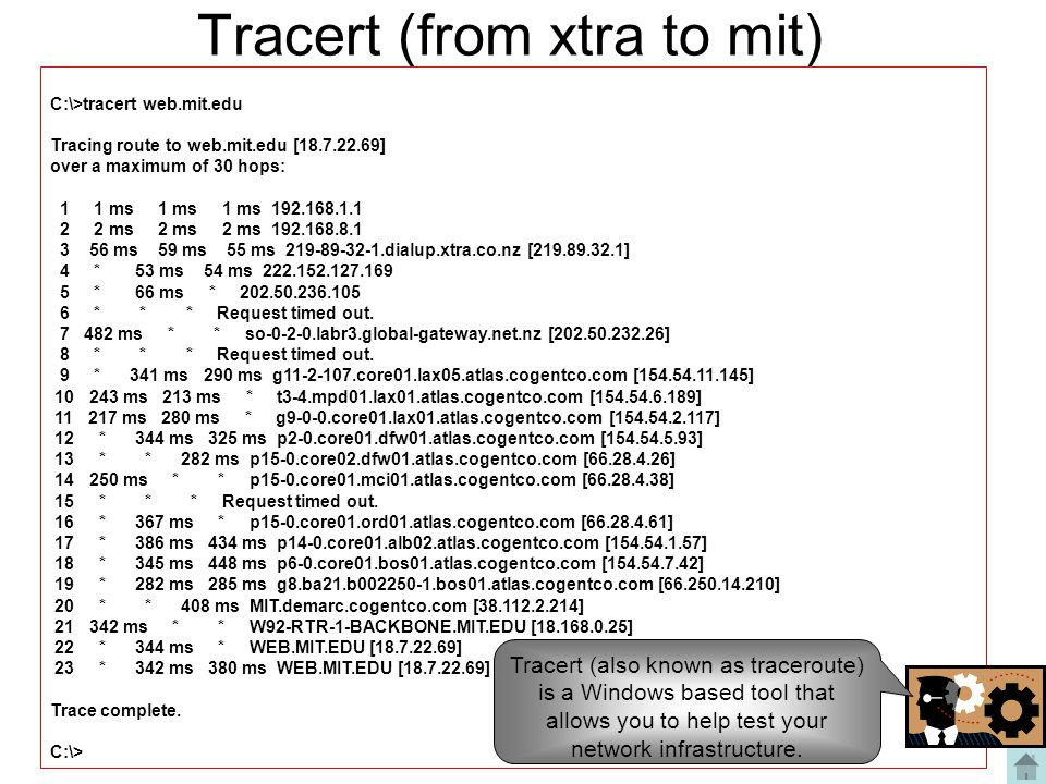 Tracert (from xtra to mit)