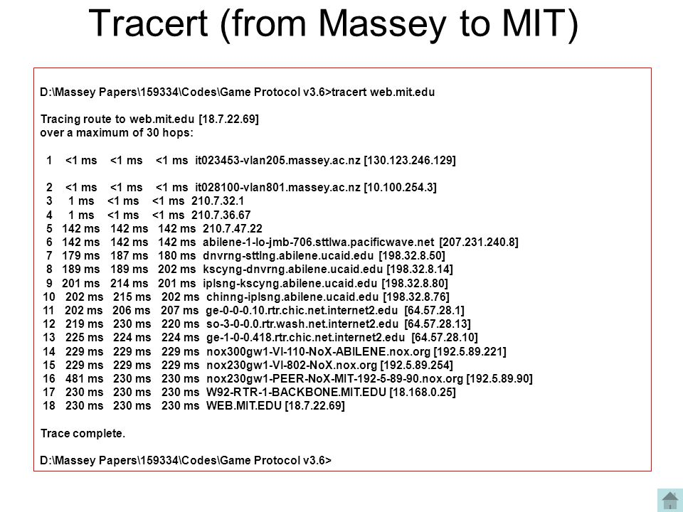 Tracert (from Massey to MIT)