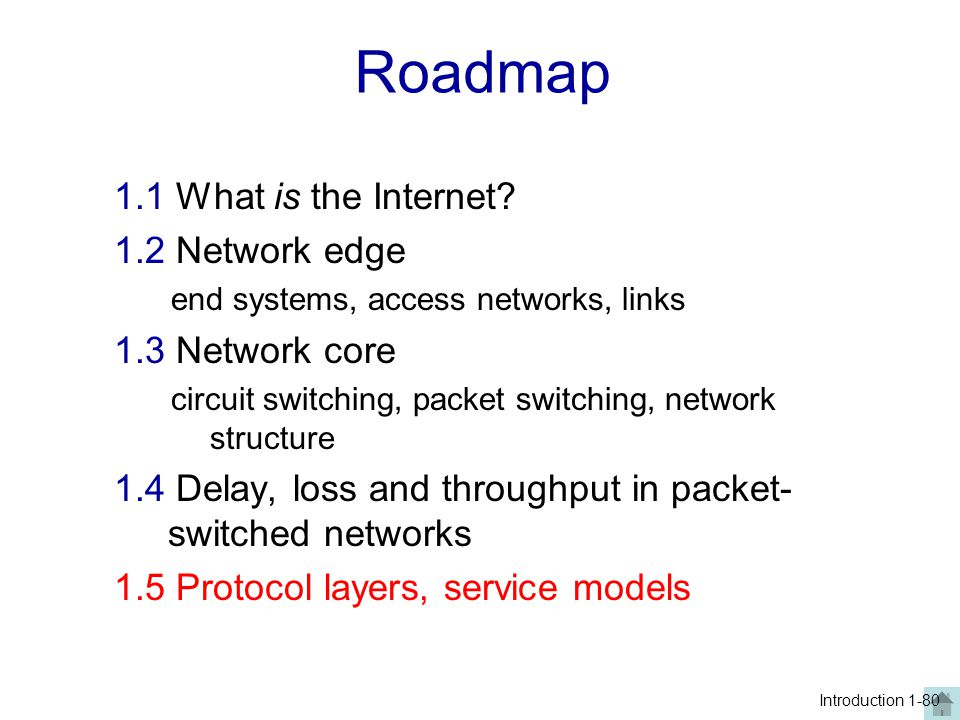 Roadmap 1.1 What is the Internet 1.2 Network edge 1.3 Network core