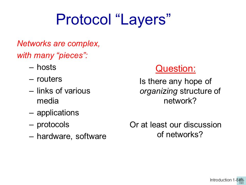 Protocol Layers Question: Networks are complex, with many pieces :