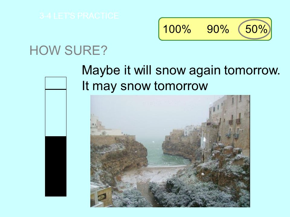 Maybe it will snow again tomorrow. It may snow tomorrow