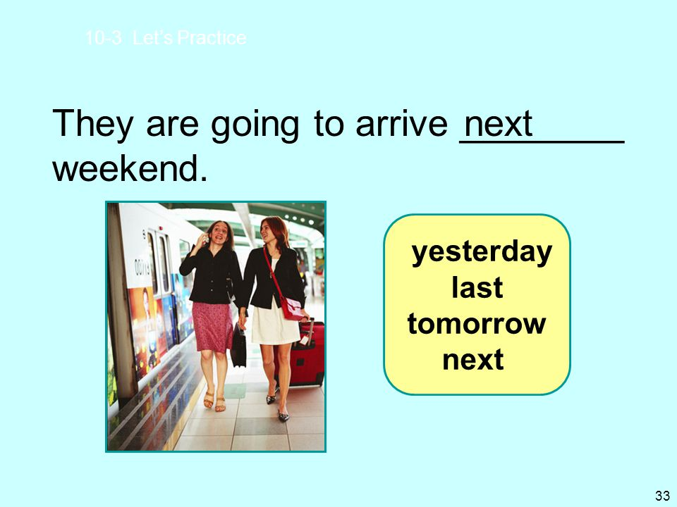 They are going to arrive ________ weekend. next