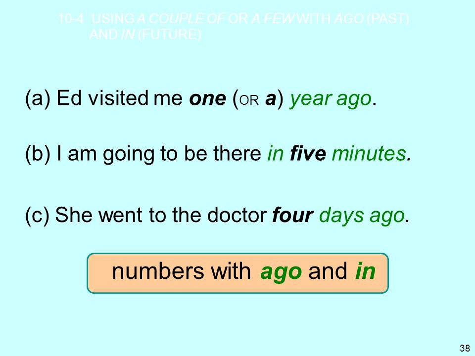 numbers with ago and in (a) Ed visited me one (OR a) year ago.