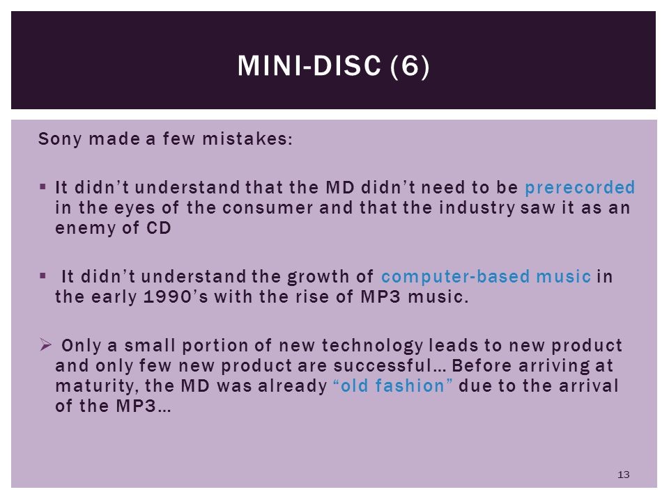 Mini-disc (6) Sony made a few mistakes: