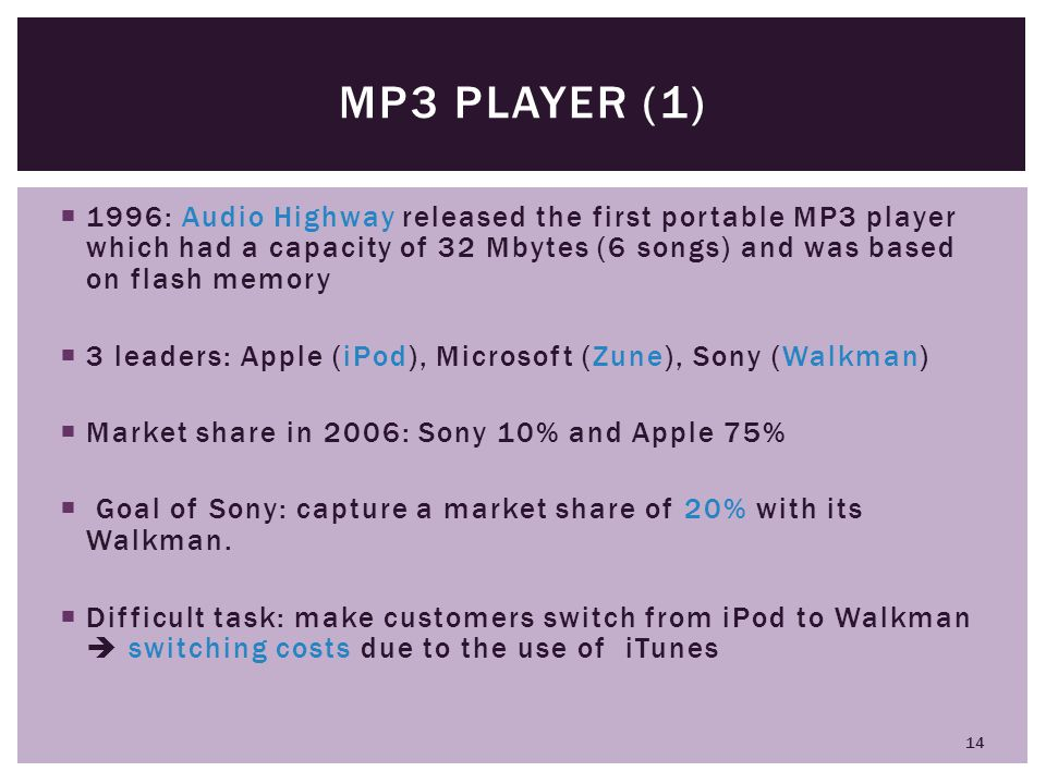 MP3 player (1) 1996: Audio Highway released the first portable MP3 player which had a capacity of 32 Mbytes (6 songs) and was based on flash memory.