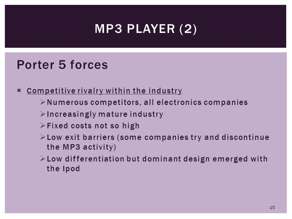 MP3 player (2) Porter 5 forces Competitive rivalry within the industry