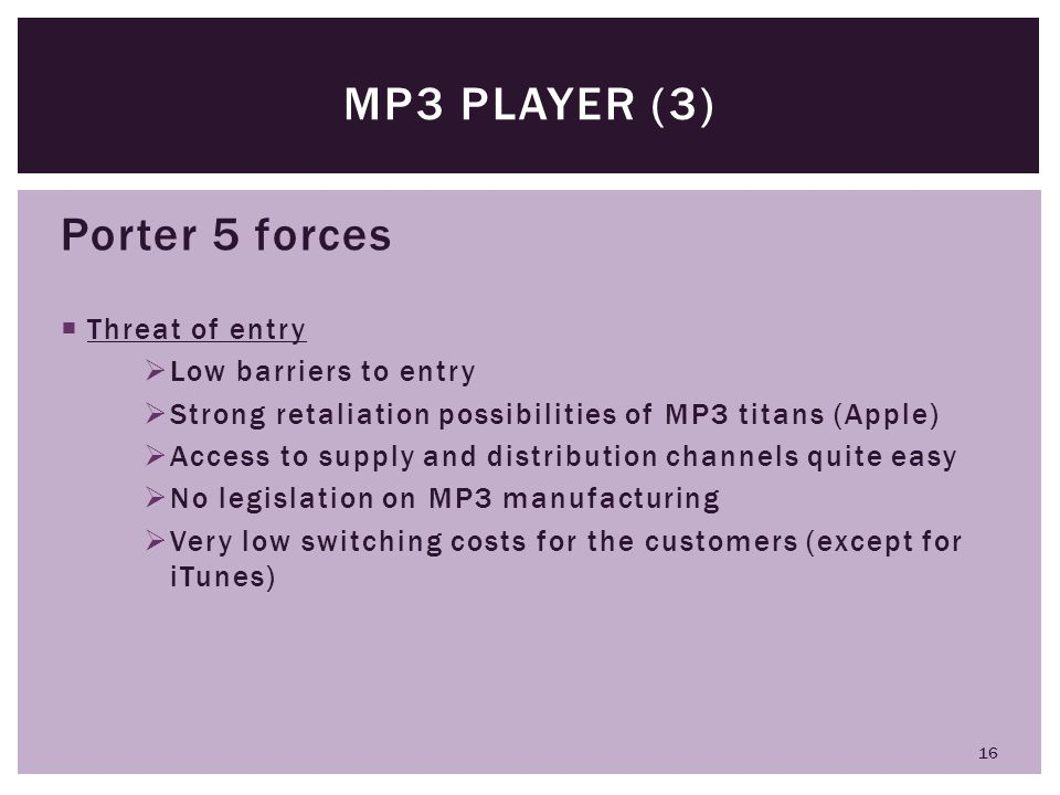 MP3 player (3) Porter 5 forces Threat of entry Low barriers to entry