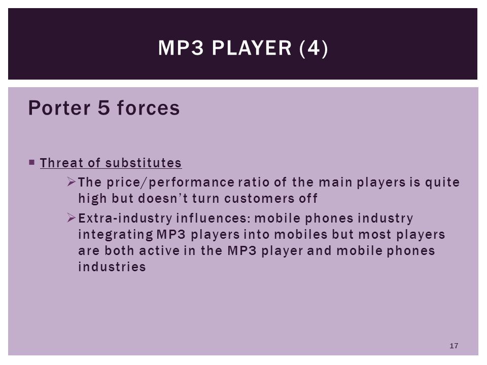 MP3 player (4) Porter 5 forces Threat of substitutes
