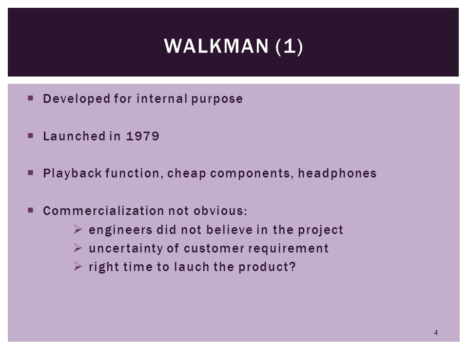 Walkman (1) Developed for internal purpose Launched in 1979