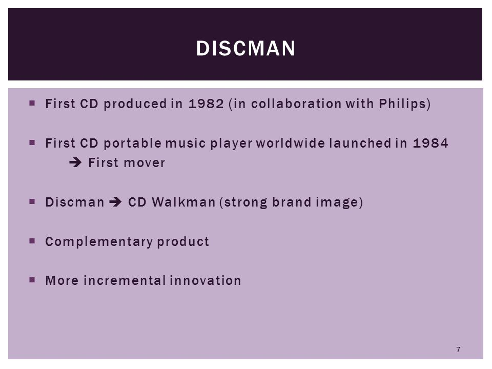 Discman First CD produced in 1982 (in collaboration with Philips)