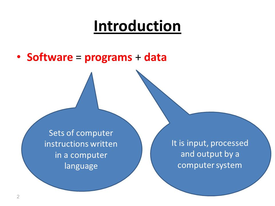 Introduction Software = programs + data