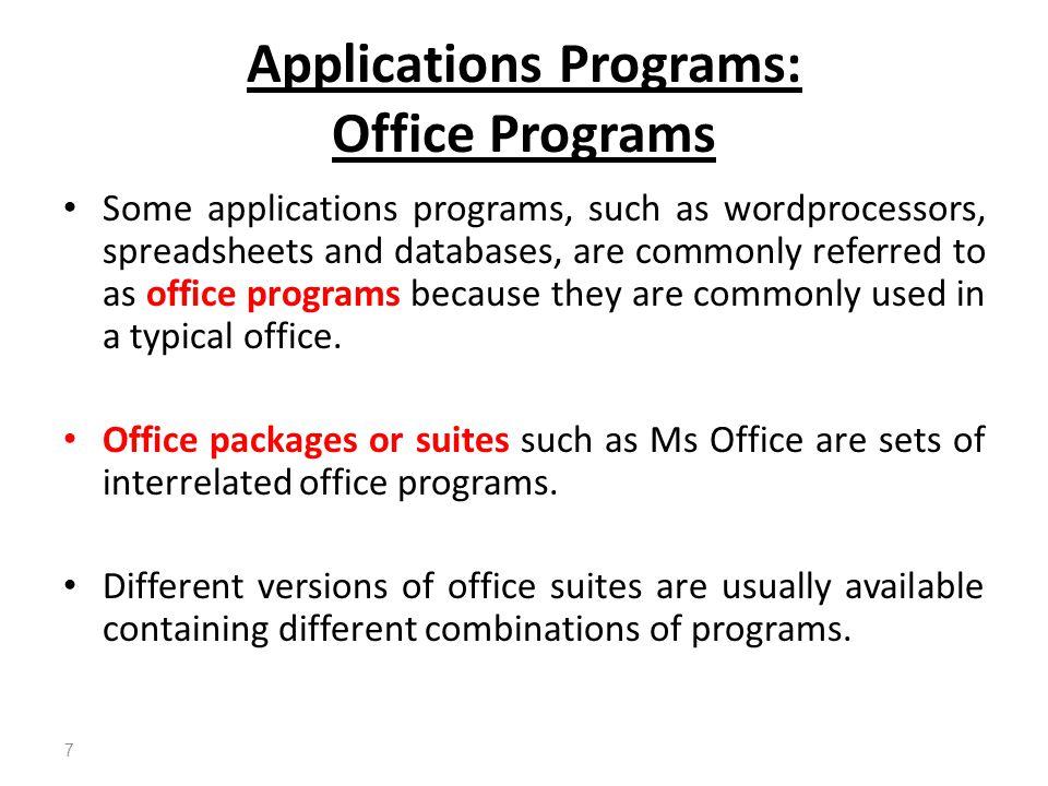 Applications Programs: Office Programs